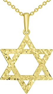 Solid 14k Yellow Gold Textured Hebrew Star of David Pendant Necklace