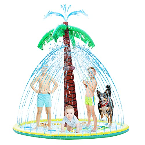 Grarg Sprinkler for Kids Splash Water Play Pad Toddlers Baby Sprinkler Mat Water Spray Pad Larger Outdoor Yard Party Games with Inflatable Palm Tree Summer Toys Gifts for Children Infants Dogs