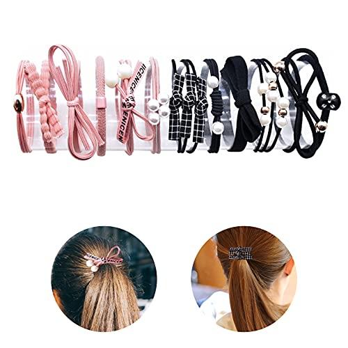 Hwtcjx gomas pelo mujer, goma pelo niña, 12 piezas Lazo de Pelo, Gomas de Pelo, Con tanque de almacenamiento transparente, alta elasticidad, no es fácil de deformar, para damas, niñas (negro, rosa)