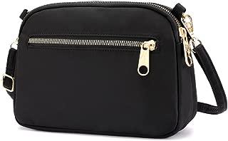 Small Crossbody Purse Mini Nylon Travel Shoulder Bag Multi Zipper Pockets