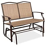 Best Choice Products 2-Person Outdoor Swing Glider, Patio Loveseat, Steel Bench Rocker for Deck, Porch w/Ergonomic Armrests, Textilene Fabric, Steel Frame - Brown