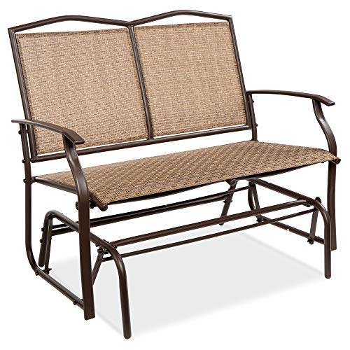Best Choice Products 2-Person Outdoor Swing Glider, Patio Loveseat, Steel Bench Rocker for Deck, Porch w Ergonomic Armrests, Textilene Fabric, Steel Frame - Brown