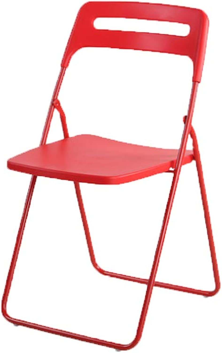 Folding Chair - Home Portable Chair Adult Dining Chair (color   RED)