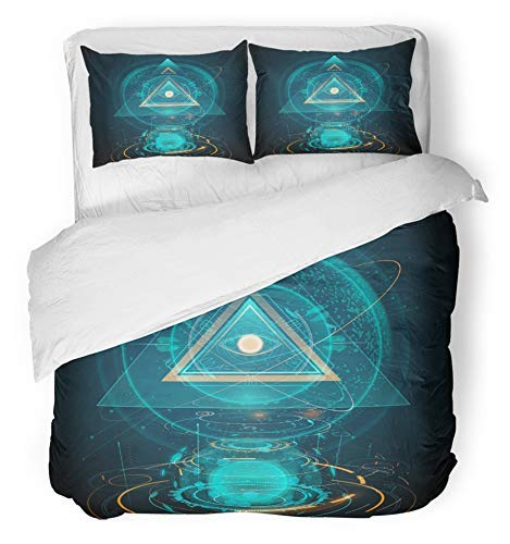 HATESAH 3 Piece Duvet Cover Set Microfiber Fabric Illuminati Abstract Futuristic All Seeing Eye Triangle Tech Future Cyber Science Bedding Set with 2 Pillow Covers 200 * 200cm+50 * 75cm*2