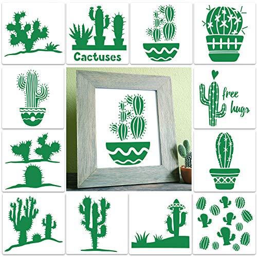 12 Stücke Kaktus Schablonen Wiederverwendbare Kaktus Schablonen Pflanzen Thema Malerei Schablonen Dekorative Vorlagen Schablonen für Haus Dekor projekte Malerei, Wand, Möbel Dekoration