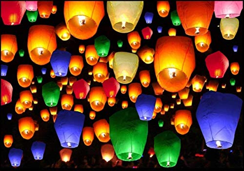VVS Creation Make A Wish High Flying Sky Paper Lantern Hot Air Balloon for Christmas, Birthday, Events, Occasions Events etc. (Multicolour) - Pack of 25
