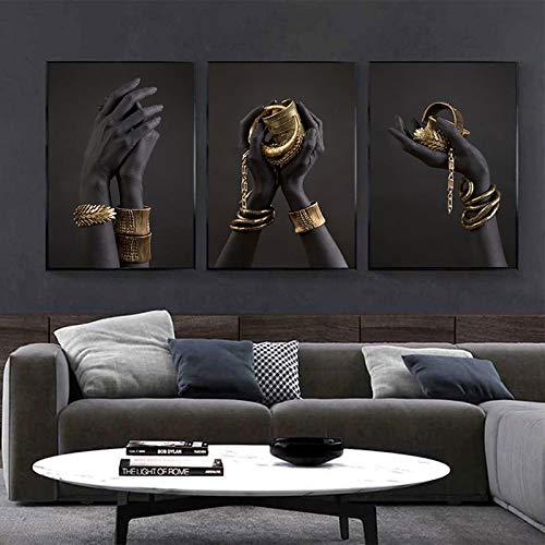 Mano negra y dorada con pulsera de oro Pintura al óleo sobre lienzo Carteles de arte africano Impresiones Cuadros de pared para decoración de sala de estar 60x90cm-3pcs Sin marco