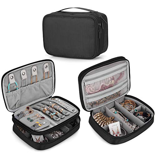 Teamoy Travel Jewelry Organizer Case, Storage Bag Holder for Necklace, Earrings, Rings, Watch and More, High Capacity and Compact,Black