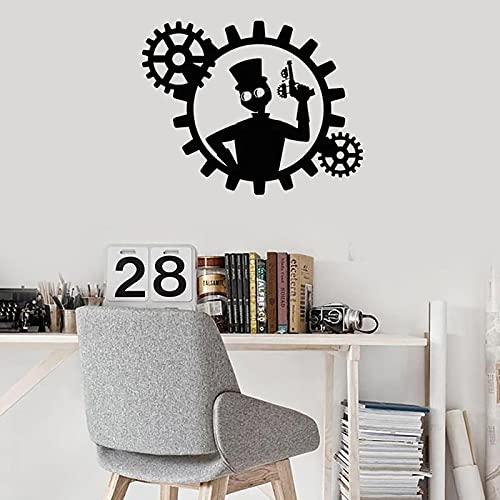 Hesuz Pegatinas de Pared Negro 72X57 CM Steampunk Vinilo Pared calcomanía Hombre con Pistola Engranajes habitación decoración del hogar Pegatinas Mural