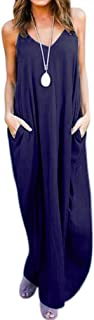QIYUN.Z Womens Solid Color Maxi Dress Long Sleeve Casual Long Maxi Dresses with Pockets