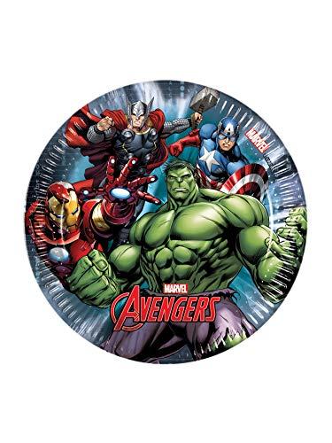 Ciao Marvel Avengers Power, Plato de papel, 19.5 cm, 8 Piezas, Multicolor