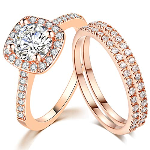 SDT Jewelry Three-in-One Bridal Wedding Engagement Anniversary Statement Eternity Ring Set (Rose Gold, 7)