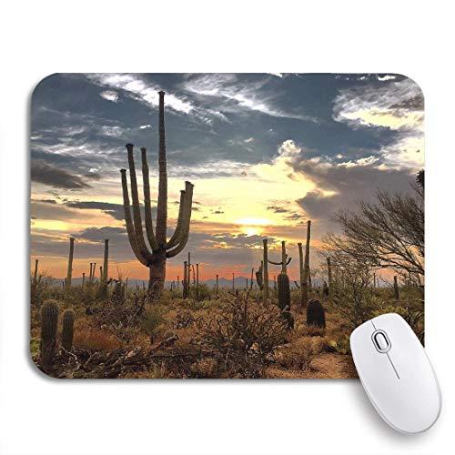 Gaming mouse pad blau kaktus wüstenlandschaft rot trocken arizona kakteen wolken rutschfeste gummiunterlage mousepad für notebooks computer maus matten