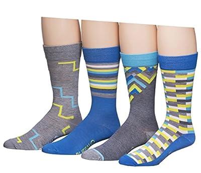 Buffalo David Bitton Men's 4 Pack Thin Stripes Crew Socks