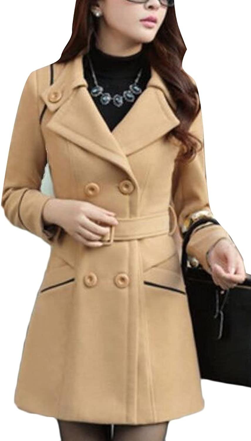 Sull Women's Winter Double Breasted Woolen Pea Parka Overcoat Coat