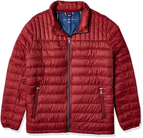 Tommy Hilfiger Men's Lightweight Cotton Hooded Anorak Jacket, Red, 2X Big