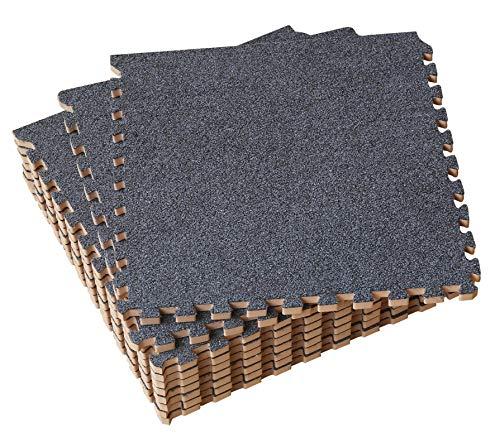 Amazon Brand - Umi 30X30cm ineinandergreifende Kurzer Haufen Bodenmatten aus Schaumstoff Set von 9 Dunkelgrau