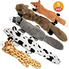 A lovely squeaky toy set: a combination of three long and two short stimulating squeaky toys, as well as a practical bag for storage, gift packaging, or as shopping bag. Two squeakers inside: The toys have squeakers in both head and tail that will at...