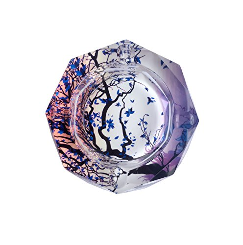 Tree Of Life Pattern Crystal Cigarette Ashtray , Home Office Tabletop Beautiful Decoration Craft (small)