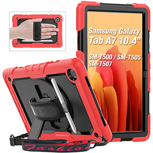 SEYMAC - Custodia per Samsung Tab A7 da 10,4 pollici 2020, Galaxy Tab SM T500, T505, T507, con pellicola proteggi schermo, supporto girevole a 360°, colore: Rosso