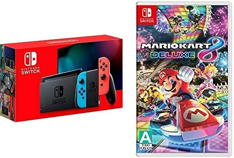 Nintendo Switch with Neon Blue and Neon Red Joy‑Con - HAC-001(-01) & Mario Kart 8 Deluxe - Nintendo Switch