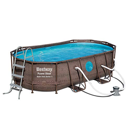 "Bestway Power Steel Swim Vista Series 14' x 8'2"" x 39.5"" Oval Pool Set"