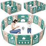 Baby Playpen, Dripex Foldable Kids Activity Centre Safety Play Yard Extendable NO Gaps Home Indoor Outdoor Baby Fence Play Pen with Gate for Baby Girls Boys Toddlers (14-Panel, Green + Brown)