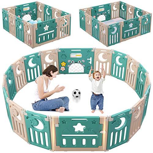 Dripex Laufgitter Laufstall Baby Absperrgitter 14-Paneele Schutzgitter Krabbelgitter für Kinder aus Kunststoff mit Tür und Spielzeugboard (Grün-Brauen)