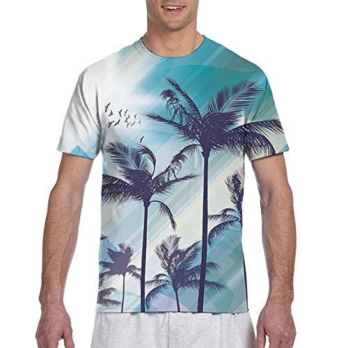 Haiyaner Digital Tree Tops On Gradient Glitter Himmel Modern Graphic Art Herren 3D All Print Graphic Premium T-Shirt 3XL