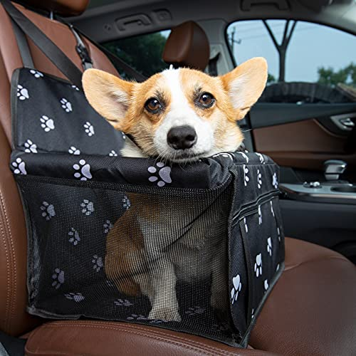 Pet Car Booster Seat Travel Carrier Cage,Anti-Collapse Folding Soft Washable Travel Bags for Dogs Cats or Other Small Pet Breathable,Elevated Pet Bed for Cars, Trucks and SUVs