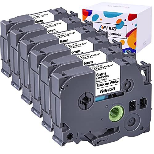 Hehua Compatible Label Tape Replacement for Brother Label Maker Tape TZe-211 TZe211 TZ211 TZ-211 6mm TZe Tape for PTD210 PTD200 PTH110 PTD400 PTD600 PT1290 Labeler ( Black on White, 6-Pack )