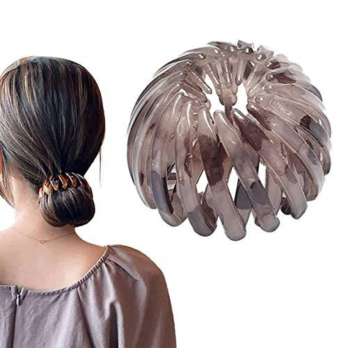 FTIK 2021 Fashion Retro Leopard Print Hairstyle Headbands, Lazos Retractables GeoméTricos del Pelo del Vintage, Clip Extensible del Tenedor De La Cola De Caballo para Las Mujeres Marrón - 2