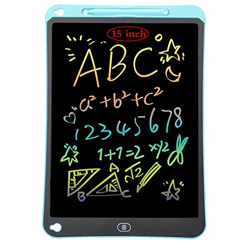 Tablette d'écriture LCD colorée, Planche à Dessin de 15 Pouces Tablette Graphique Serrure à clé Écriture Manuscrite Doodle Dessin Pad Enfants Jouets Cadeaux pour garçons Filles (bleu)