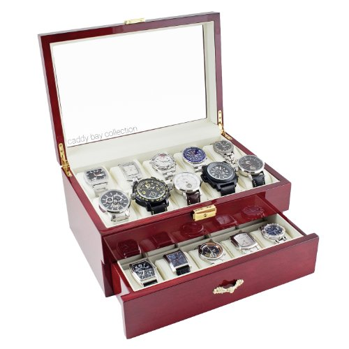 Caddy Bay Collection Rosewood Finish Watch Case Display Storage Watch Box Chest with Glass Clear Viewing Top Holds 20 Watches