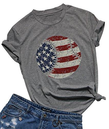 Women's American Flag Baseball Printed T-Shirt O-Neck Short Sleeve Causal Tops Size XL (Gray)