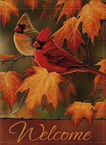 Selmad Welcome Fall Cardinal Garden Flag Love Red Bird Double Sided, Memorial Quote Rustic Burlap Decorative House Yard Decoration, Autumn Leaves Seasonal Home Outdoor Vintage Décor 12 x 18