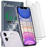 Ferilinso [6 Pack] 3 Piezas Protector de Pantalla para iPhone 11 Cristal Templado + 3 Piezas Protector cámara iPhone 11 Protector de Lente de Cámara [9H Dureza] [Compatible con la Funda]