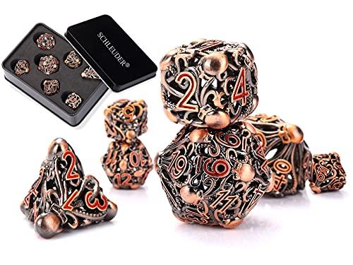 Dungeons and Dragons Dados Set, Dados de rol Dice Metal Gold Set, La Mazmorra Juego de Mesa, Cobre Dragones y Mazmorras Juego de Dados (Cobre Rojo Antiguo)