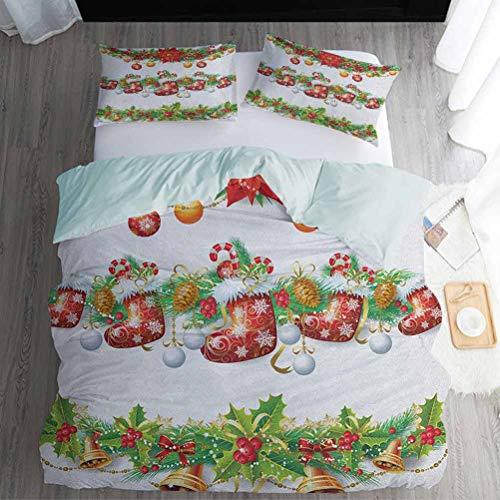 Nomorer Bedding Duvet Cover Sets California King, Christmas Duvet Cover Sets - Traditional Garland Designs with Flowers Socks and Bells Mistletoe Candy, Orange Red Green