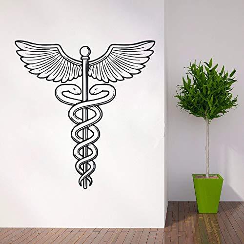 jiuyaomai Medizin Symbol Wandtattoo Abnehmbare Vinyl Wandaufkleber Krankenhaus Wand Poster Caduceus Vinyl Aufkleber Krankenhaus Wandbild schwarz 57x60cm
