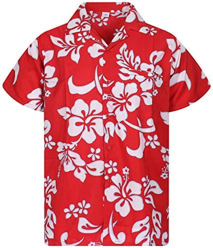 V.H.O. Funky - Camicia hawaiana a maniche corte da uomo, tasca frontale, stampa hawaiana, fiori di ibisco Rosso Ferrari XXXXL