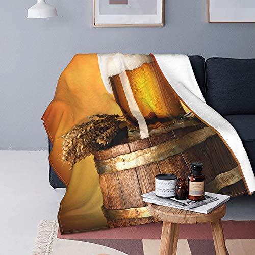 Felpa Manta de Tiro para Todas Las Estaciones Suave Ligero Calentar,Vaso de Cerveza y Trigo en un Barril de Madera,Cómodo Manta de Cama Edredón de Viaje para Sofá Cama,60' X 80'