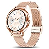 Yocuby Smart Watch for Women, Luxury Touch Screen Smartwatch for Lady, Fitness Tracker Sport Watch Compatible with iOS,Android Phone,Gift for Her (gold)