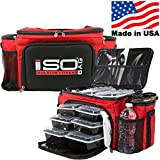 Meal Prep Lunch Box ISOBAG - Large Insulated 6 Meal Prep Bag/Cooler With 12 Containers, 3 Ice Packs & Shoulder Strap (Red/Black) - MADE IN USA
