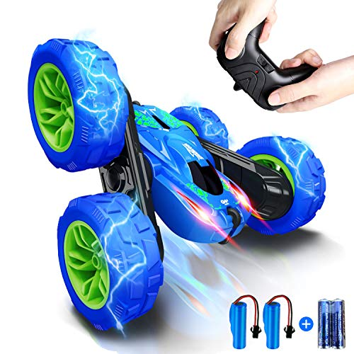 RC Stunt Car for Kids, SHARKOOL 360°Flips Double Sided Rotating 4WD 2.4Ghz Remote Control Car with Sharp Dual-Color...