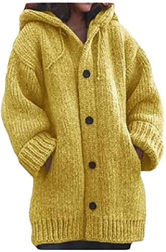 Las mujeres más el tamaño de la ropa exterior botón arriba con capucha punto punto básico Cardigan suéteres abrigo