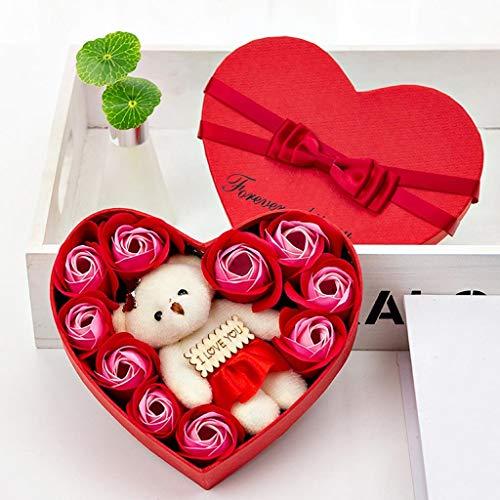 LoveLeiter Rosenbox Seifenblume Baderosen Seife Rose Blume DIY Handgemachte Seife Rose Blume verpackt in Geschenkbox Größen für Valentinstag Geburtstag Jahrestag