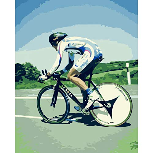 YXBNB DIY Malen Nach Zahlen Erwachsene Rennradfahrer Figur DIY Malerei durch Zahlen Wandkunst Bild Acrylmalerei für Hauptdekoration