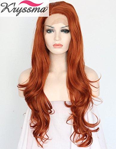 K'ryssma Natural Looking Auburn Wavy Wigs for Women Side Part Long...