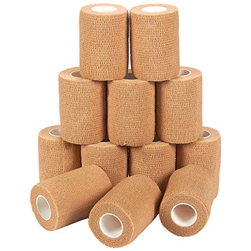 Vendas (Paquete de 12) - Vendas auto adherentes, rollos de gasa auto adhesivos, cinta médica, suministros de primeros auxilios para deportes, muñecas, tobillos - color tostado, 7,6 cm x 4,5 cm